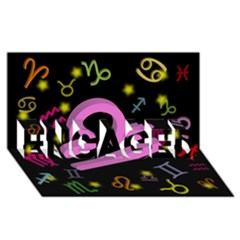 Libra Floating Zodiac Sign ENGAGED 3D Greeting Card (8x4)