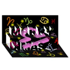 Libra Floating Zodiac Sign Merry Xmas 3d Greeting Card (8x4)