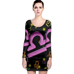 Libra Floating Zodiac Sign Long Sleeve Bodycon Dresses