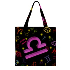 Libra Floating Zodiac Sign Zipper Grocery Tote Bags