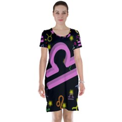 Libra Floating Zodiac Sign Short Sleeve Nightdresses
