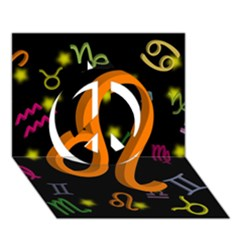Leo Floating Zodiac Sign Peace Sign 3D Greeting Card (7x5)
