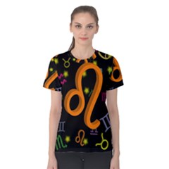 Leo Floating Zodiac Sign Women s Cotton Tees