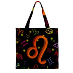 Leo Floating Zodiac Sign Zipper Grocery Tote Bags