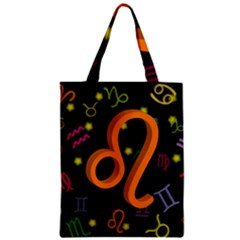 Leo Floating Zodiac Sign Zipper Classic Tote Bags
