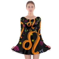 Leo Floating Zodiac Sign Long Sleeve Skater Dress