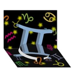 Gemini Floating Zodiac Sign Circle Bottom 3D Greeting Card (7x5)