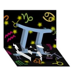 Gemini Floating Zodiac Sign Love Bottom 3d Greeting Card (7x5)