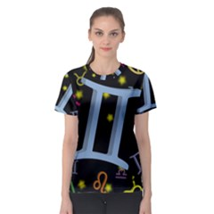 Gemini Floating Zodiac Sign Women s Sport Mesh Tees