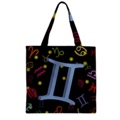 Gemini Floating Zodiac Sign Zipper Grocery Tote Bags