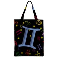 Gemini Floating Zodiac Sign Zipper Classic Tote Bags