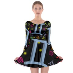 Gemini Floating Zodiac Sign Long Sleeve Skater Dress