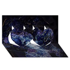 Space Like No 3 Twin Hearts 3d Greeting Card (8x4)