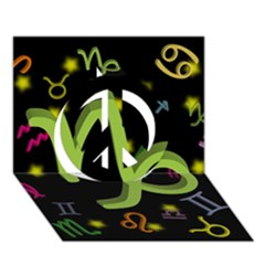 Capricorn Floating Zodiac Sign Peace Sign 3d Greeting Card (7x5)