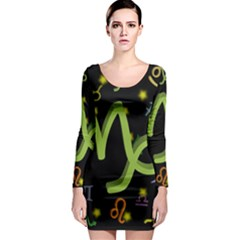 Capricorn Floating Zodiac Sign Long Sleeve Bodycon Dresses