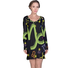 Capricorn Floating Zodiac Sign Long Sleeve Nightdresses