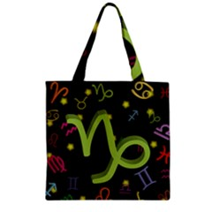 Capricorn Floating Zodiac Sign Zipper Grocery Tote Bags