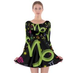Capricorn Floating Zodiac Sign Long Sleeve Skater Dress