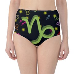 Capricorn Floating Zodiac Sign High-Waist Bikini Bottoms