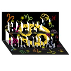 Cancer Floating Zodiac Sign Happy Birthday 3D Greeting Card (8x4)