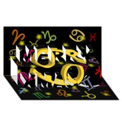 Cancer Floating Zodiac Sign Merry Xmas 3D Greeting Card (8x4)
