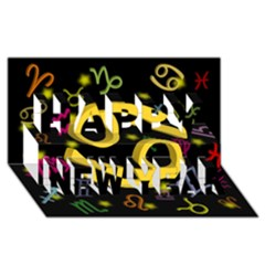 Cancer Floating Zodiac Sign Happy New Year 3D Greeting Card (8x4)