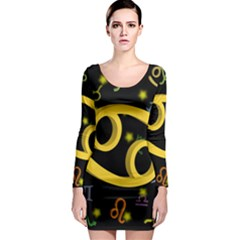 Cancer Floating Zodiac Sign Long Sleeve Bodycon Dresses