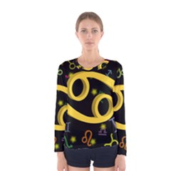 Cancer Floating Zodiac Sign Women s Long Sleeve T-shirts