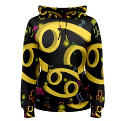 Cancer Floating Zodiac Sign Women s Pullover Hoodies