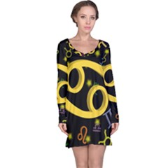 Cancer Floating Zodiac Sign Long Sleeve Nightdresses