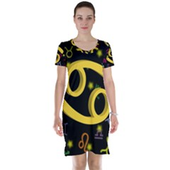 Cancer Floating Zodiac Sign Short Sleeve Nightdresses