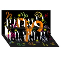 Aries Floating Zodiac Sign Happy Birthday 3D Greeting Card (8x4)