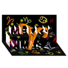 Aries Floating Zodiac Sign Merry Xmas 3d Greeting Card (8x4)