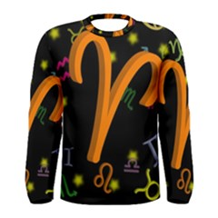Aries Floating Zodiac Sign Men s Long Sleeve T-shirts