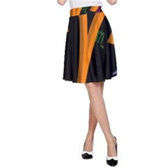 Aries Floating Zodiac Sign A-Line Skirts