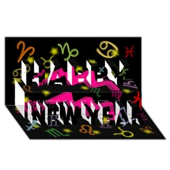 Aquarius Floating Zodiac Sign Happy New Year 3D Greeting Card (8x4)