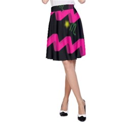 Aquarius Floating Zodiac Sign A-Line Skirts
