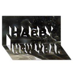 Space Like No.6 Happy New Year 3D Greeting Card (8x4)