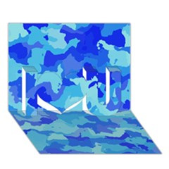 Camouflage Blue I Love You 3d Greeting Card (7x5)