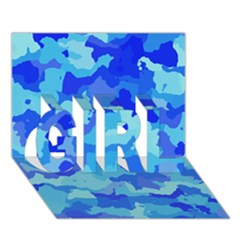 Camouflage Blue GIRL 3D Greeting Card (7x5)