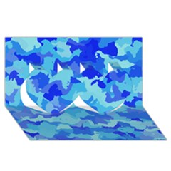 Camouflage Blue Twin Hearts 3d Greeting Card (8x4)