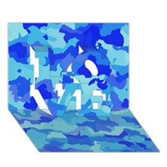 Camouflage Blue LOVE 3D Greeting Card (7x5)