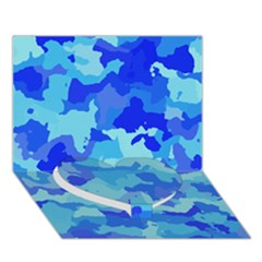 Camouflage Blue Heart Bottom 3D Greeting Card (7x5)