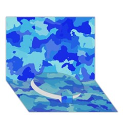 Camouflage Blue Circle Bottom 3d Greeting Card (7x5)
