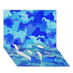 Camouflage Blue Love Bottom 3d Greeting Card (7x5)