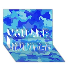 Camouflage Blue YOU ARE INVITED 3D Greeting Card (7x5)