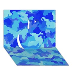 Camouflage Blue Apple 3d Greeting Card (7x5)