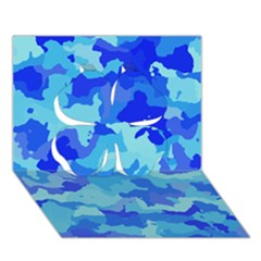 Camouflage Blue Clover 3D Greeting Card (7x5)
