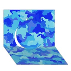Camouflage Blue Circle 3d Greeting Card (7x5)