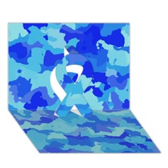 Camouflage Blue Ribbon 3D Greeting Card (7x5)
